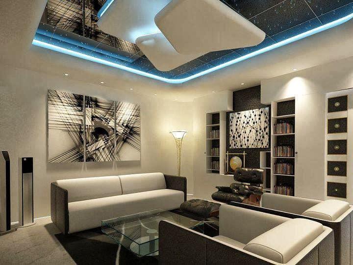Дизайн подвесного потолка в стиле hi-tech