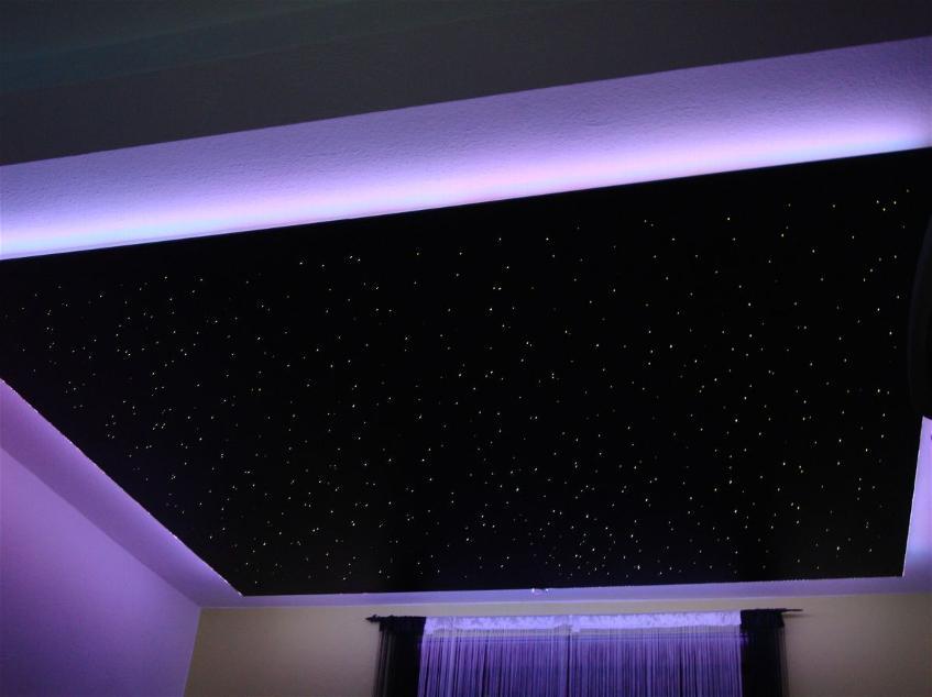 Эффект звездного неба на потолоке из гипсокартона