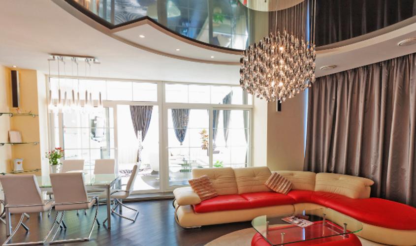 Комната с многоуровневым потолком из гипсокартона