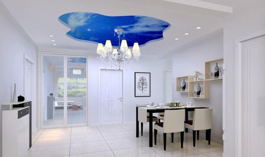 Фигурный потолок с эффектом неба