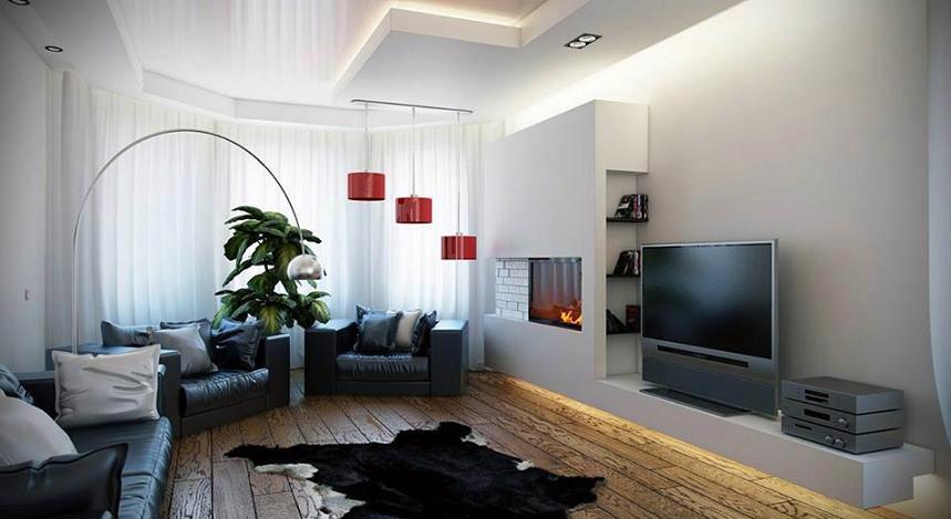 Интерьер зала с потолком из ГКЛ со стильной подсветкой