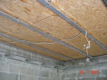Завершение процесса монтажа каркаса под потолок