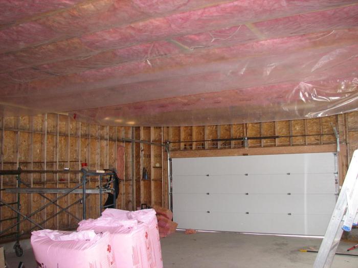 Процесс утепления потолка гаража