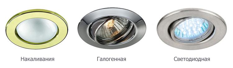 Типы ламп для точечных светильников в  потолке