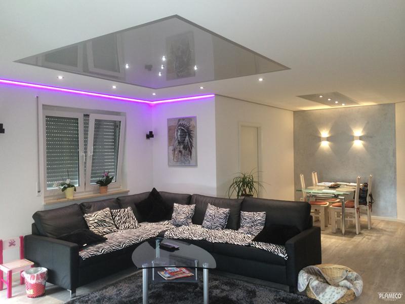 Гостиная с идеально ровным потолком