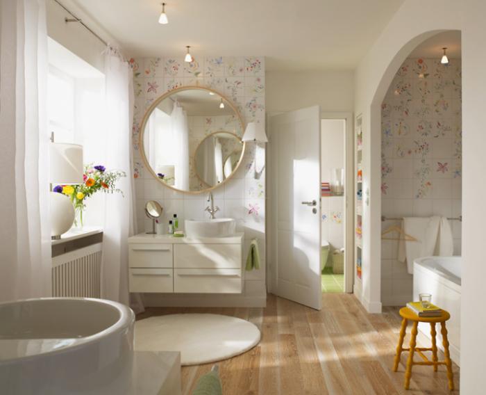 Отличный дизайн стен ванной комнаты