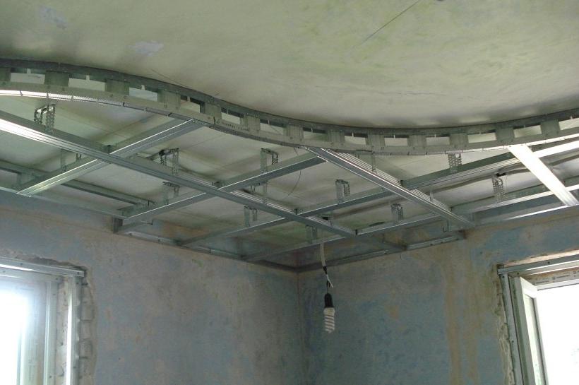 Каркас для фигурного потолка с подсветкой