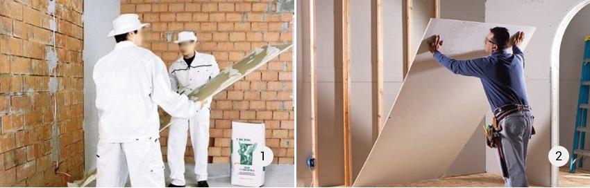 Обшивка стены гипсокартоном при разных уровнях перепадов