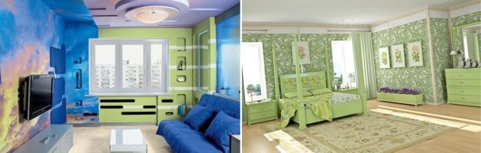 Стены комнат, облицованные гипсокартоном