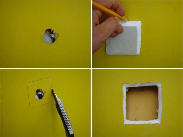Измерение поврежденного места в стене