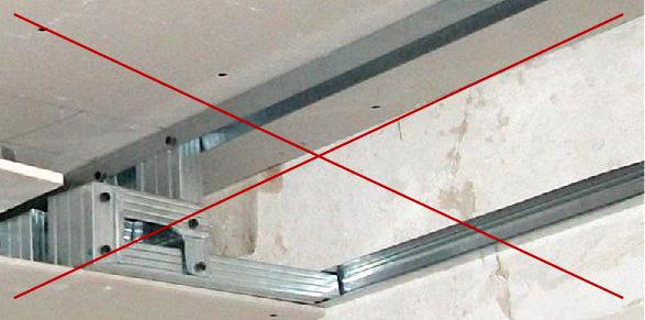 Профили на потолке не должны быть несущими элементами