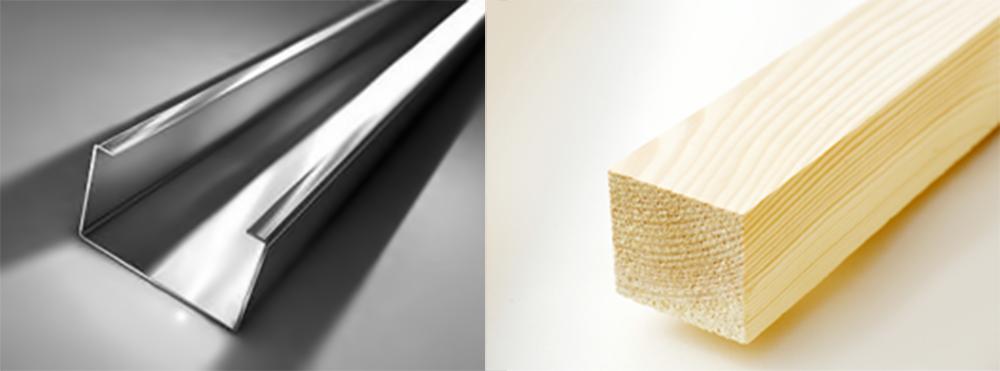 Металлический профиль и деревянный брус
