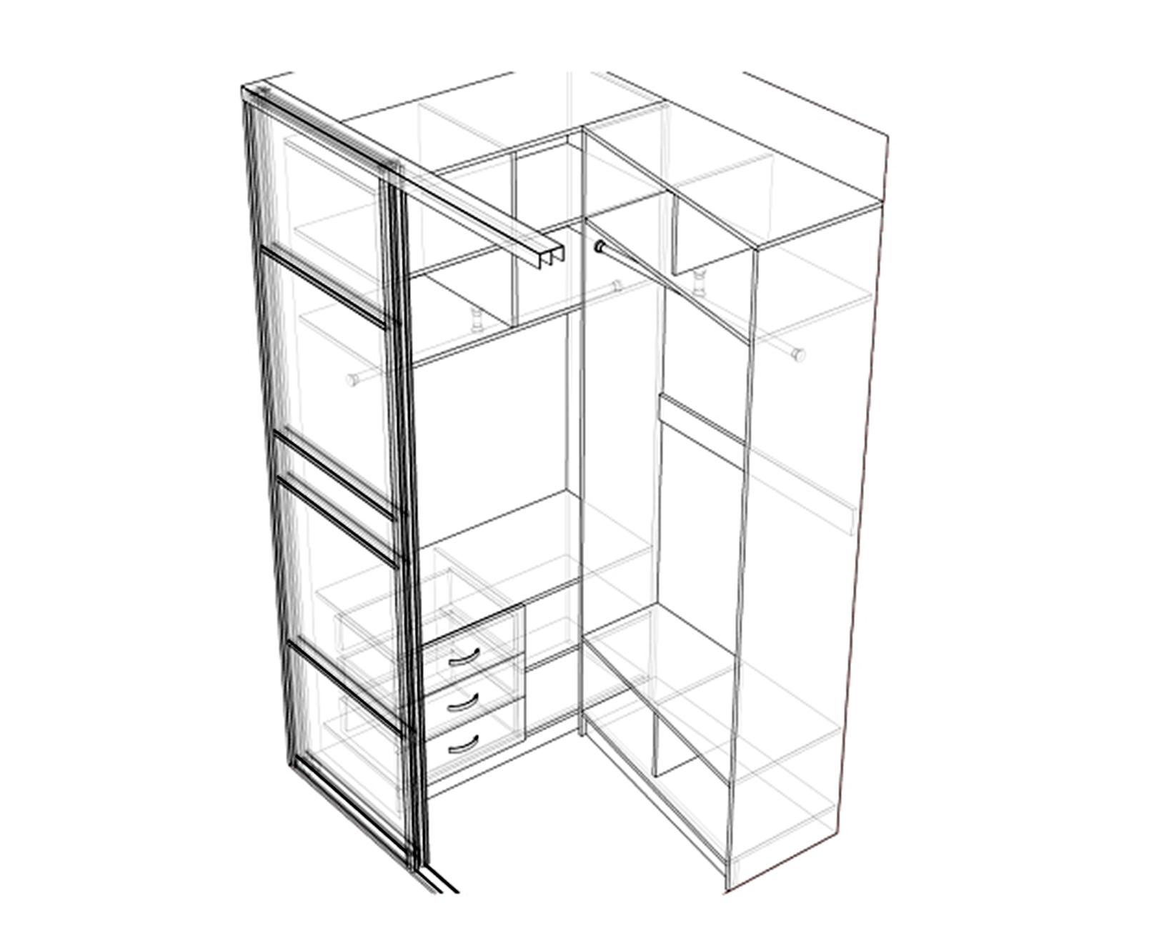 Чертеж шкафа из гипсокартона