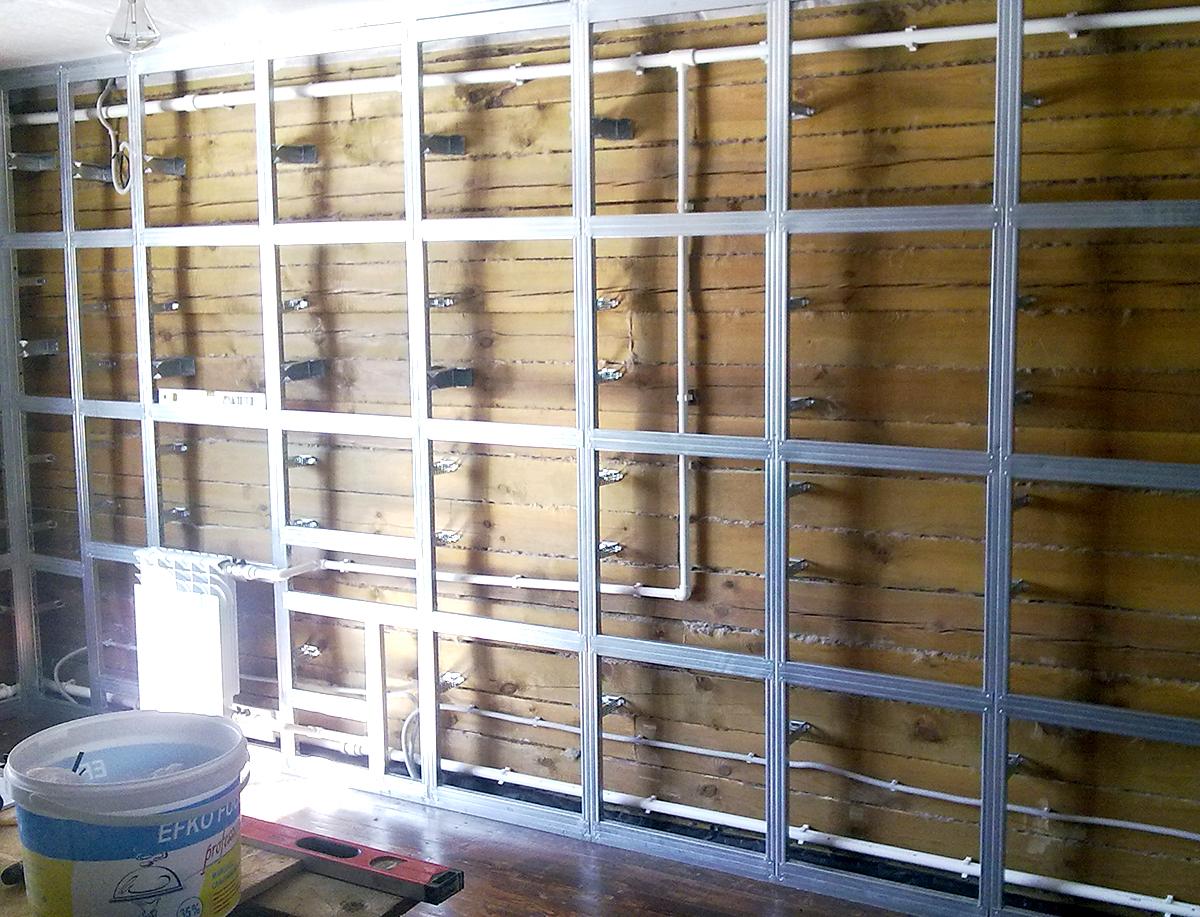 монтаж деревянного каркаса под гипрок схема