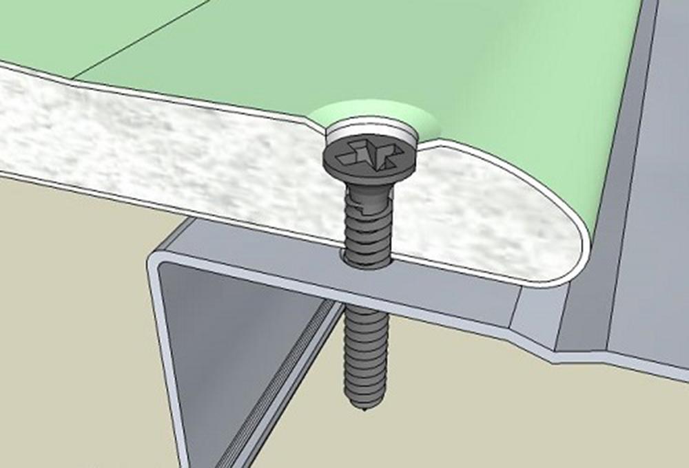 Схема крепления гипсокартона к металлопрофилю