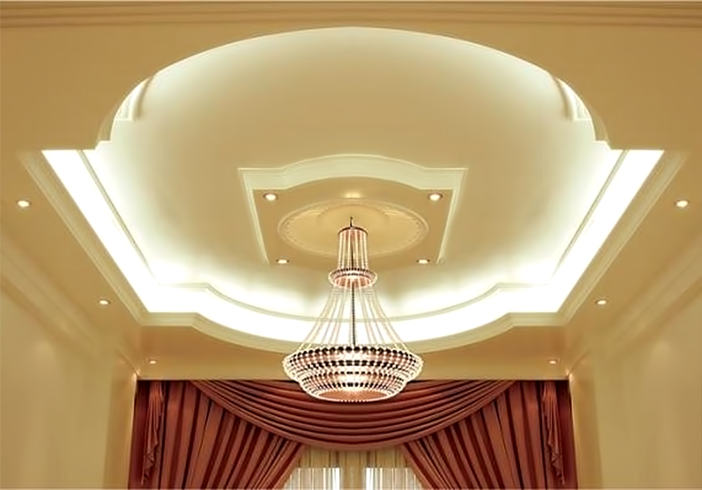 Красивый дизайн потолка из гипсокартона