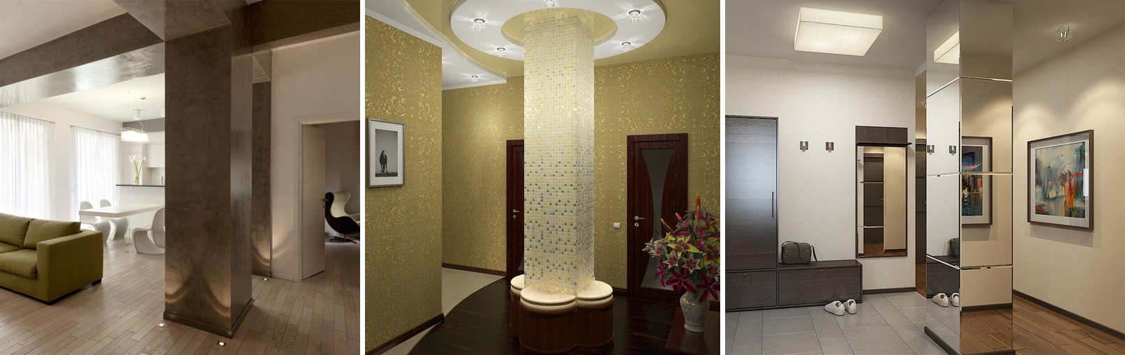 Варианты оформления колонн в квартире