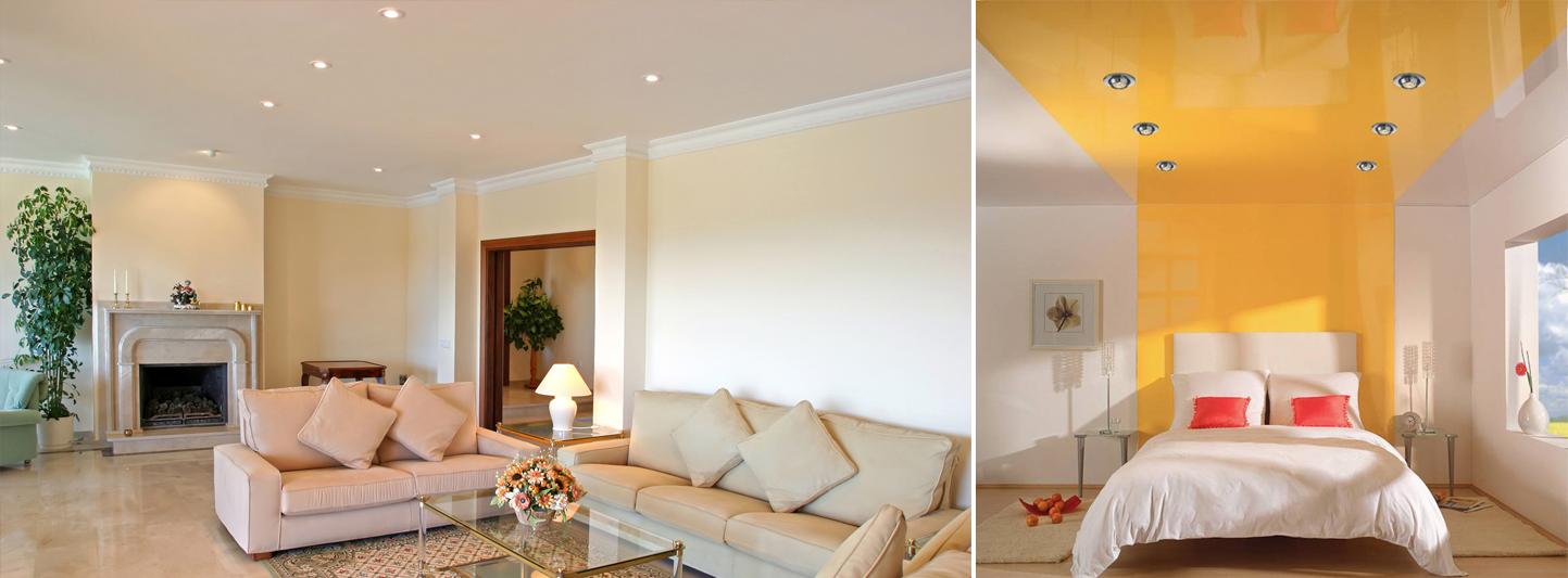 Идеи оформления одноуровневого потолка из гипсокартона