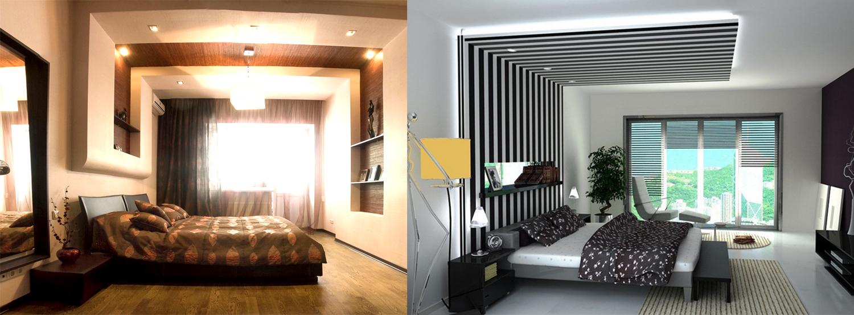 Необычный выступ, который подчеркивает зонирование комнаты