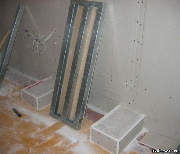 Обшивка стен гипсокартоном и нанесение разметки для камина