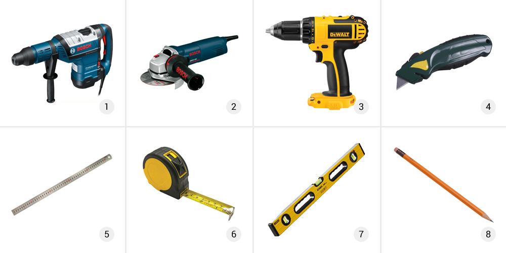 Набор инструментов для монтажа конструкции