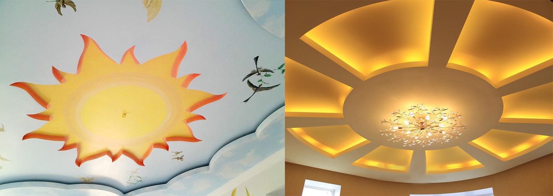 Потолок-солнце из гипсокартонных листов