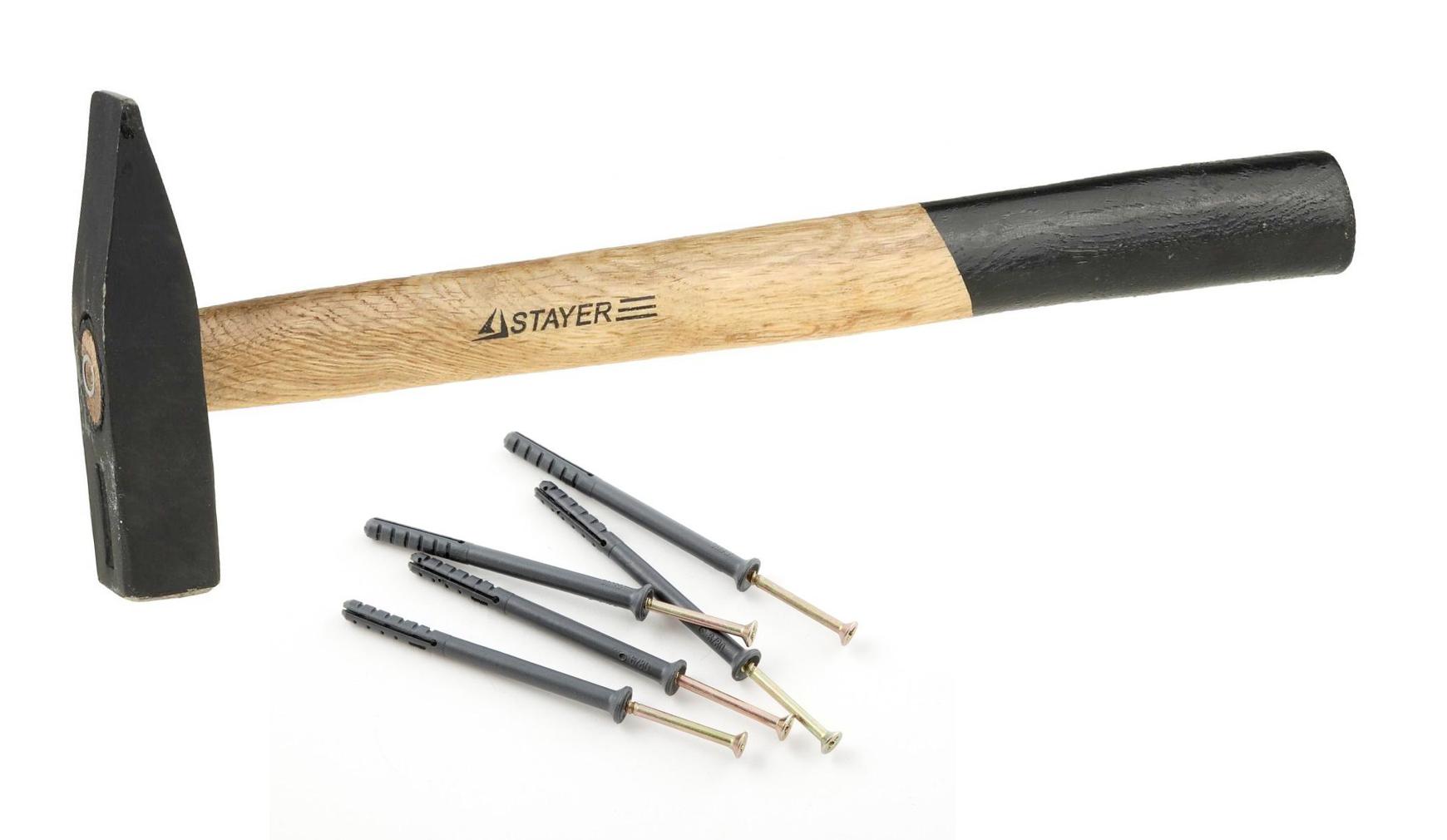 Комплект для крепежа - молоток и дюбель-гвозди