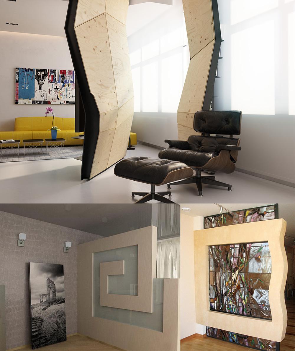 Зонирование комнаты с помощью конструкций из гипсокартона